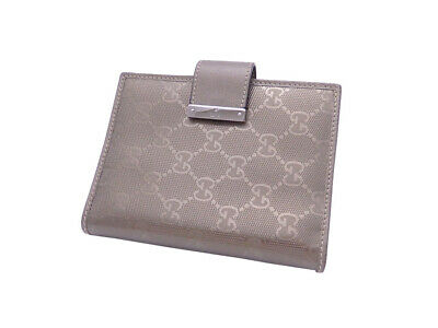 Auth Gucci GG Imprime Note/Agenda Cover Metallic PVC/Leather - e44376a