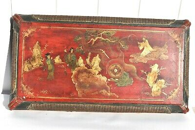 Large Antique Chinese Painted Red & Gold Lacquer Box Depicting A Fable Story 25""