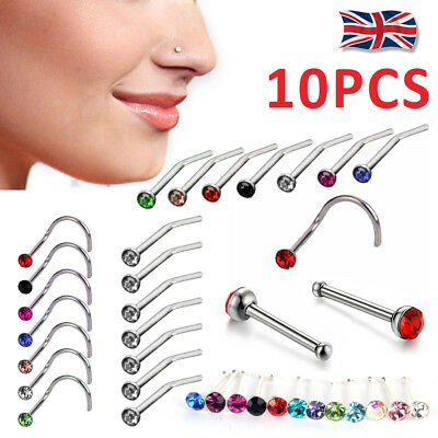 10X Surgical Steel Small Gem Nose Stud Ring Crystal Screw Body Piercing UK Stock