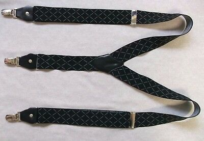 Braces Suspenders Mens Vintage CLIP ON 1980s CITY STOCKBROKER BLACK