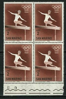 Olympic Games Tokyo 1964 Gymnastics Sports Block of 4 Stamps MNH