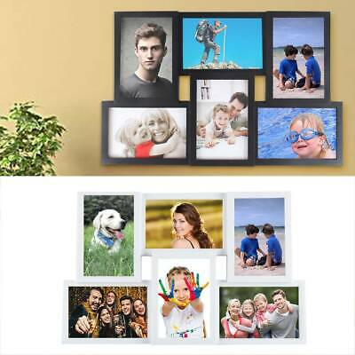 Family 6 Multi Aperture Photo Picture Frame Holds 6''X4'' Photos White&Black