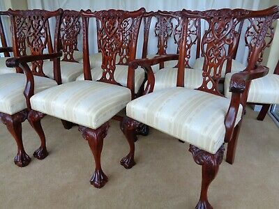 A Fine Set Of 12 Carved Mahogany Antique Style Dining Chairs By Charles Barr