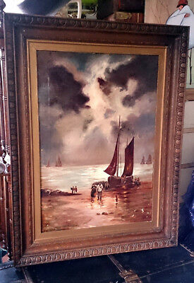 "Large Antique Victorian Oil Painting on Canvas Signed E Cook 34"" x 26"""