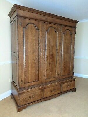 A Large Bryn Hall Antique Style Oak Wardrobe / Arts And Crafts Style Armoire