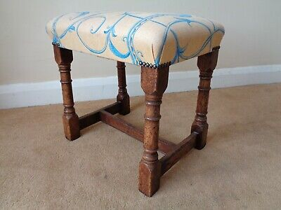 A Bryn Hall Oak Stool / Dressing Table Stool / Antique Style