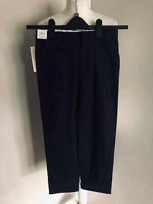 BNWT M&S Kids Boys Navy Blue Smart Trousers Age 9-10 Years Adjustable Waist Hem
