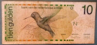 NETHERLANDS ANTILLES 10 GULDEN NOTE ISSUED 31.03. 1986, P 23 a