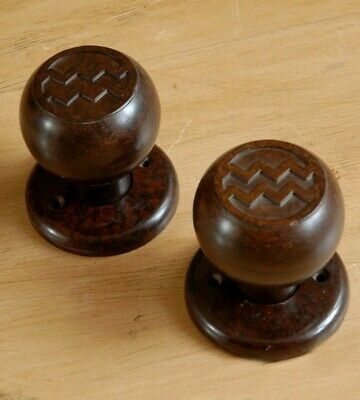 RARE Vintage Art Deco Door Knobs Bakelite Antique Rim & Mortice Handles
