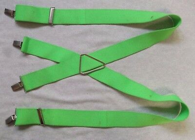 Braces Suspenders Mens Vintage CLIP ON 1980s FLUORESCENT GREEN