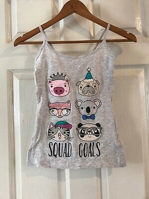 Primark Love to Lounge Squad Goals Pyjamas Size Small 6-8 Cute Vest Animals Grey