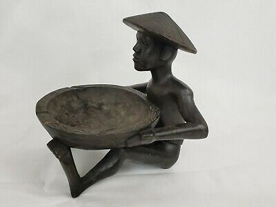 VTG Tribal Ethnic Wood Carved Man Figure W/ Bowl Ashtray Tips Dish.
