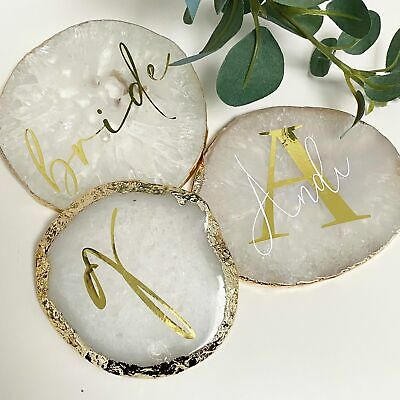 Personalised Agate Crystal Coasters with Gold Edge