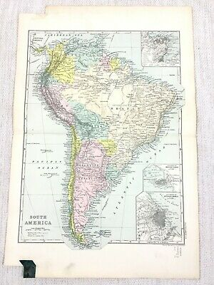 1892 Antique Map of South America Buenos Aires Original 19th Century G W Bacon