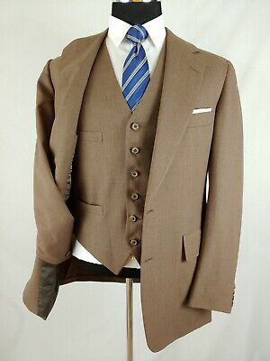 Vintage 1970's Hickey Freeman Wool Brown 3Piece Men Complete Suit 40L 34x31 USA