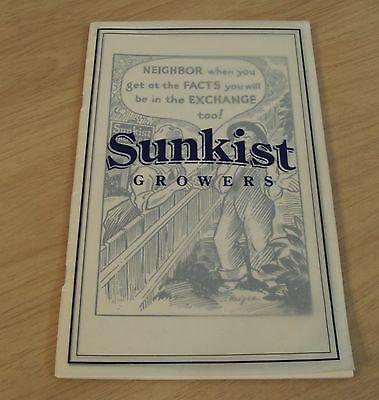 """1938 CITRUS Marketing COMIC Questions/Answers~""""SUNKIST GROWERS"""" 1996 REPRINT"""