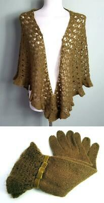 Ladies *Noa Noa* Mustard Knitted Set / Long Gloves & Scarf, Stole, Shawl, Wrap