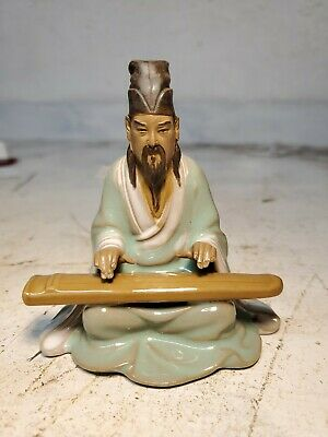 Vintage Chinese Shiwan Art Pottery Mud Man Sitting Playing Guqin
