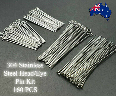 NO FADE 160 Pcs Head/Eye Pin Kit For DIY Jewelry 304 Stainless Steel 4 Sizes