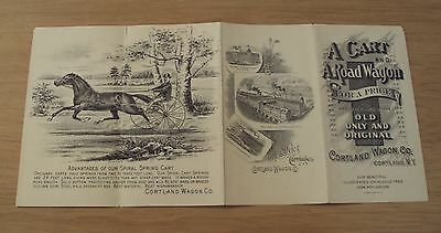 """RARE 1894 ILLUSTRATED Sales Brochure~""""CORTLAND WAGON CO""""~New York~Carriages~"""