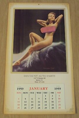 "1959 ADVERTISING Calendar Pinup ART of ""DREAM GIRL""~Queens NY~"