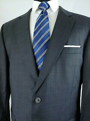 Jos. A. Bank Signature Gold Gray Wool Blue Check 2 Button Suit Mens 44L 35x33