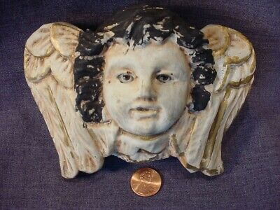 Antique Wooden Carved Angel Cherub Santos With Glass Eyes #3