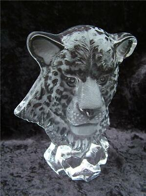Embossed Leopards Head Cut Glass Animal Sculpture