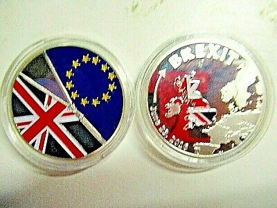 NEW ; SILVER PLATED COMMEMORATIVE BREXIT COIN. JUNE 23rd, 2016. TRUSTED SELLER