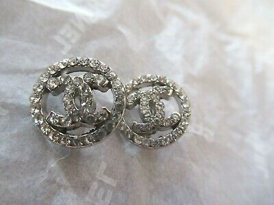 Chanel 2 buttons  14mm lot of 2 silver cc crystal lot 2