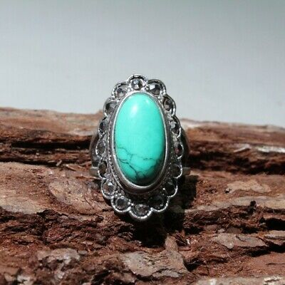 Collectable China Handwork Old Miao Silver Mosaic Turquoise Carve Delicate Ring