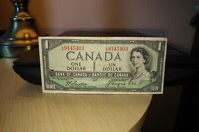 1954 Devil's Face $1 Dollar Bank of Canada Banknote LA9145403