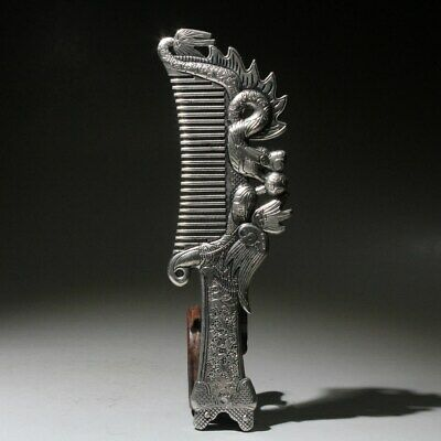 Collect China Tibetan Culture Old Miao Silver Hand-Carved Dragon Phoenix Comb