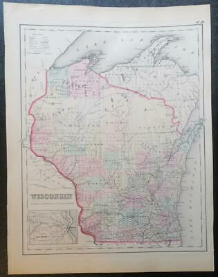 Original 1856 Colton's Wisconsin Map,Counties,Roads,Railroads,Canals,Towns,Plats