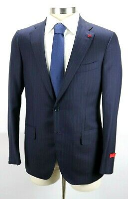 NWT $4595 ISAIA Sanita Navy Blue Stripe Super 160's Suit Slim Fit 44 R fits 42 R