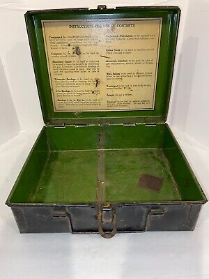 Vintage First Aid Kit- Black Green Metal Box With Latch And Handle