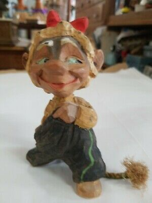 Henning Norway Hand Carved Gnome Troll little devil Figurine