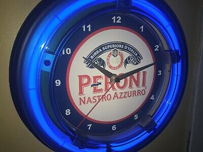 Peroni Italian Beer Bar Man Cave Advertising Blue Neon Wall Clock Sign
