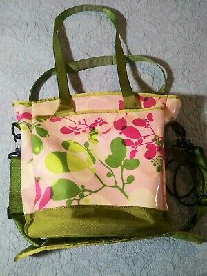 Fleurville Diaper Bag Pockets extra Accessories Lime Green pink Floral.Euc.