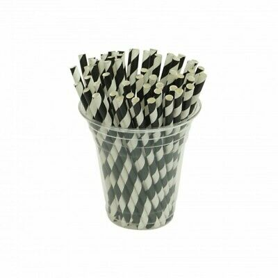 NEW Black And White Stripe Biodegradable Paper Cocktail Straws - CARTON(2500)