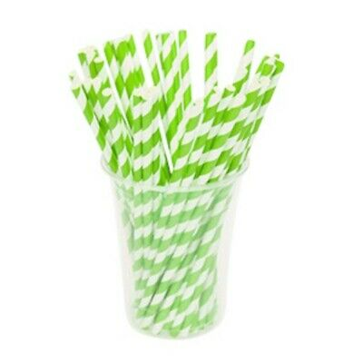 NEW Green Striped Biodegradable Paper Straws - CARTON(2500) - Kent Paper