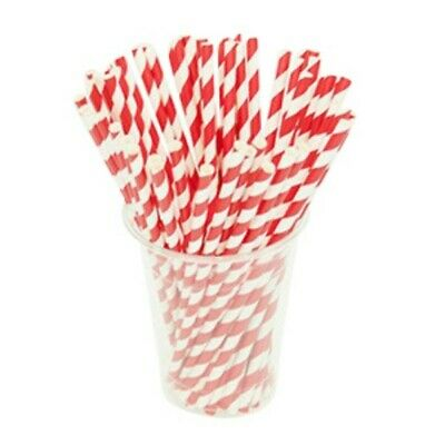 NEW Red Striped Biodegradable Paper Straws - CARTON(2500) - Kent Paper