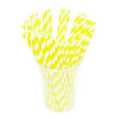 NEW Yellow Striped Biodegradable Paper Straws - CARTON(2500) - Kent Paper