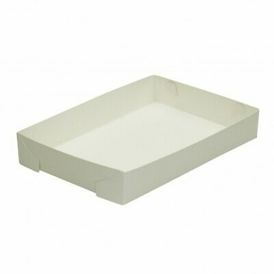 NEW White Cardboard Food Trays - Large 255mm - 50mm - (200)PKT - Kent Paper