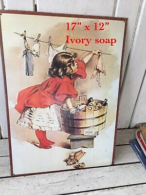 Ivory Soap Laundry Girl Washing Busy Day Tin Metal Sign NEW