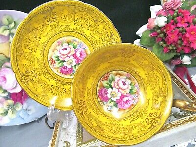 Bavaria Germany tea cup and saucer painted roses yellow & gold gilt teacup 1940s