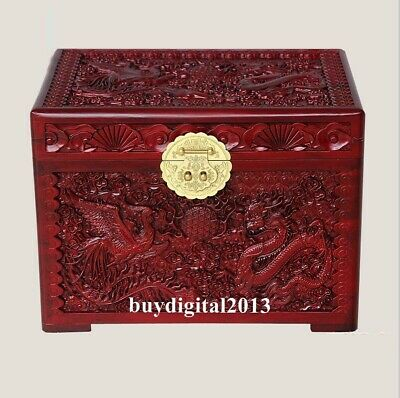 Camphorwood handcarved wood Chinese Lucky Dragon phoenix jewelry box case casket