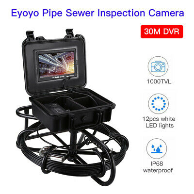 "30M Video Snake Drain Pipeline Endoscope Camera 7"" DVR 1000TVL IP68 Waterproof"