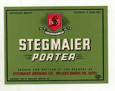 12oz STEGMAIER PORTER BEER BOTTLE LABEL by STEGMAIER BREWING CO WILKES-BARRE PA