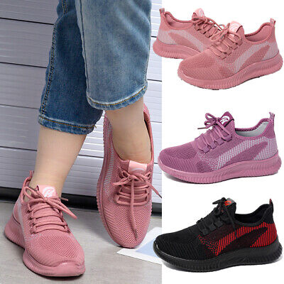 Womens Mesh Sneakers Ladies Lace Up Breathable Trainers Running Sport Shoes Size